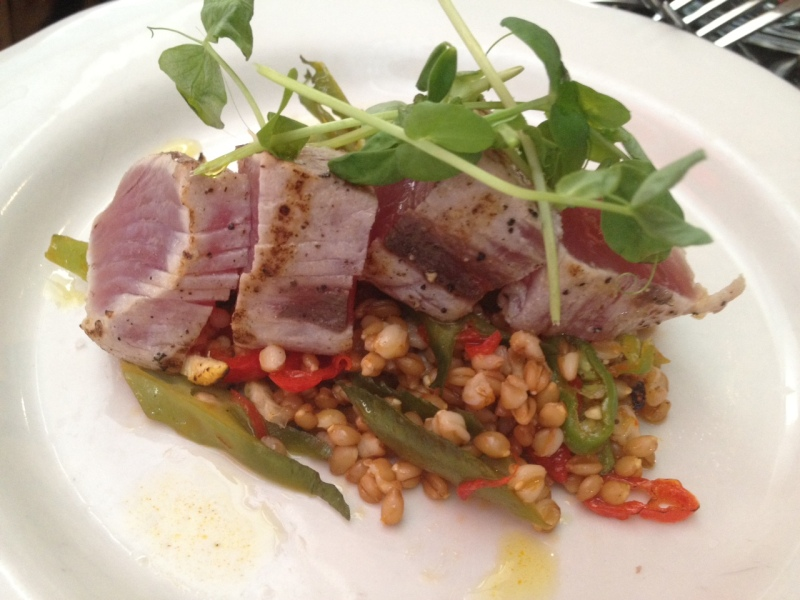 Bradley used the wing beans on Saturday for this local bonito tuna dish with faro and carolina long hot peppers.