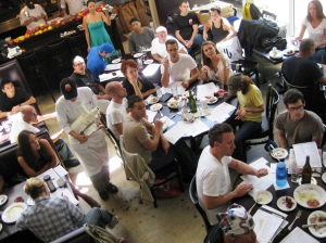 Staff at MGFD in 2009, tasting and learning about Michael's new brunch for the first time.