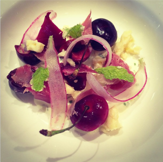cherries and roasted beets, buttermilk dressing and @chefbradleyj prosciutto care of @roel_alcudia