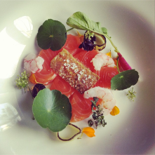 Salmon shabu shabu with nasturtium and amaranth