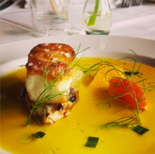 Pan Roasted Grouper with Fennel Confit & Orange Nage paired with Corsini Barolo 2004