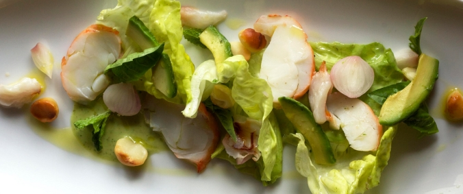 FLORIDA LOBSTER AND LYCHEE SALAD butter lettuce, avocado, pickled onion, macadamia nuts, jade dressing
