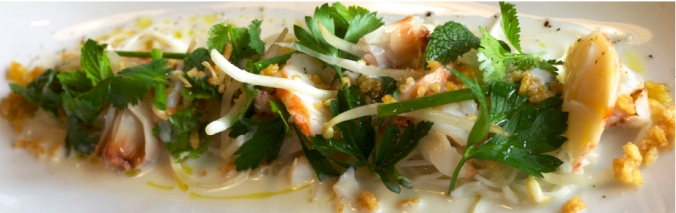 FLORIDA LOBSTER AND LYCHEE SALAD rice noodles, bean sprouts, coconut milk, puffed rice