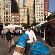 UNION SQUARE GREEN MARKET - 9:30 a.m. today Gramercy Tavern's haul this morning with Mo (NYC photos courtesy of Kevin Sayet)
