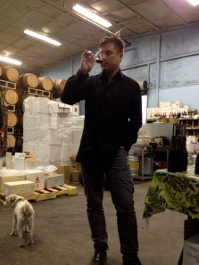 Wine director on the sniff test at Eric Larkee at Au Bon Climat!
