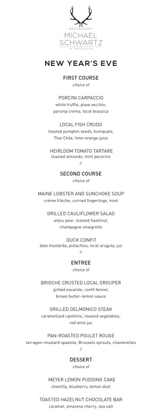 NYE 2014 4 course menu
