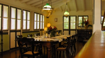 The dining room at Habitation Clément. Located in Le Francois, this is the birthplace of Rhum Agricole and carries the culture of an ancient Créole sugarcane plantation rich with French West Indian history, which has been completely refurbished by the Hayot family to remain a Martiniquean cultural icon for centuries.