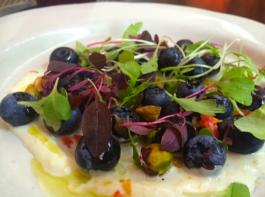 Florida blueberries with lemon crème fraîche, fresno chiles, cress
