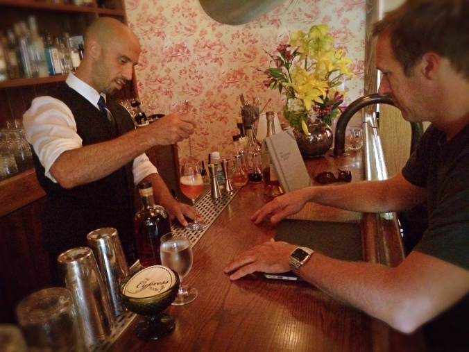 Ryan and The Cypress Room bartender Christian Carnevale working out the restaurant's new Barrel Aged Spritz recipes earlier this week.