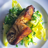 Black Grouper, a local fish of summer that Roel Alcudia is creating magic with at The Cypress Room, here with black tapenade, fennel and endive with chiffonade sorrel to finish.
