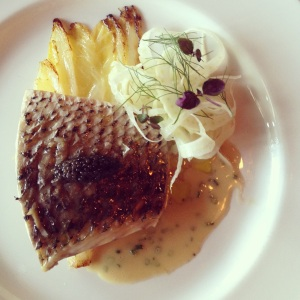 Home Brew steamed black drum, with braised endive, fennel and Home Brew beurre blanc