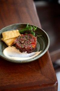 Tartare (tuna here) provencal vinaigrette, meyer lemon aioli, housemade saltines 14