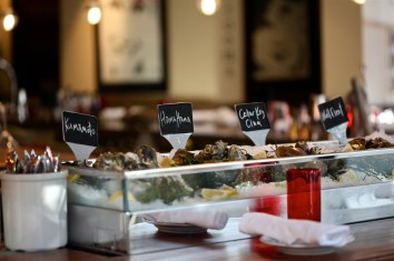 The new raw bar, garden marker labels courtesy Chef's penmanship.