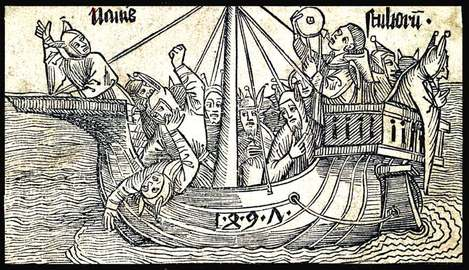 Illustration from the satirical poem Das Narrenschiff (Ship of Fools) published in 1494 in Basel, Switzerland, by Sebastian Brant.