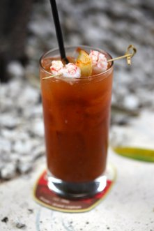 Kimchi Bloody Mary (Michael's Genuine® Food & Drink Brunch) Absolut Elyx vodka, housemade kimchi, Florida rock shrimp