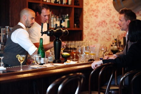 Very often, crafting a balanced cocktail takes some finagling... and collaboration. Here, Goodspeed with bartender Christian Carnevale tasting GM Amanda Su and (now MGFD) manager Marty McCartt.
