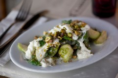 Warm Brussels Sprouts and Stracciatella Salad