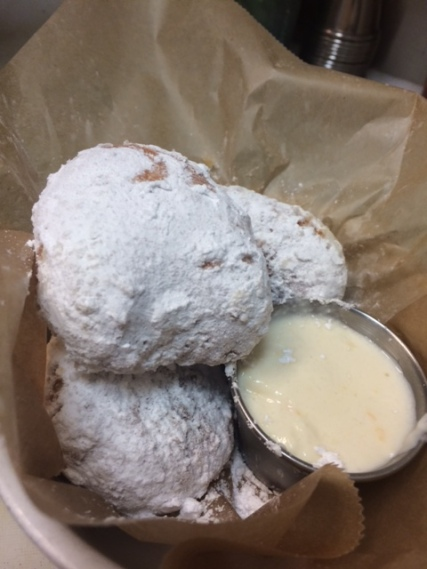 Zeppole with honey whipped ricotta