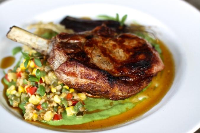 Pork Chop – farro, succotash, spring onion soubise