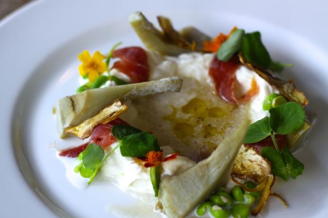 Artichoke – Stracciatella, peas, prosciutto, barigoule vinaigrette
