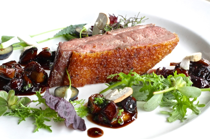 Pan roasted duck breast with Porcini and Blueberries