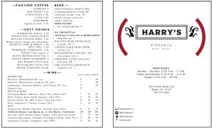 Harry's RED Menu