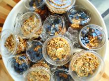 Two healthy and tasty breakfasts to-go! Chia almond pudding and Greek Yogurt