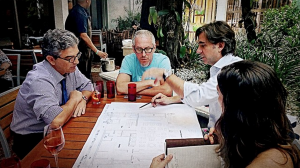 Michael with Will Meyer of Meyer Davis Studio, and Carlos Rosso, President of Condos at The Related Group, as they reviewed plans for Michael's restaurant at Paraiso Bay.