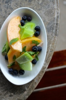Melons & Blueberries with mint and lime