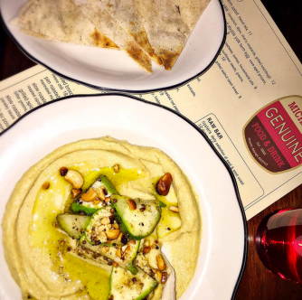 Verde Farm zucchini with sumac and Chef Niven's hummus and pita. Michael's Genuine is now sourcing produce for dishes like this, done simply, fresh off Niven's farm pick up earlier that morning.