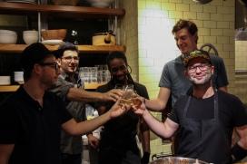 Eric Saltzman, Giorgio Rapicavoli, Washington Charles, William Crandall, and Steve Santana share a toast.