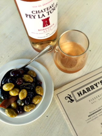 Rosé and olives, thank you Harry's!