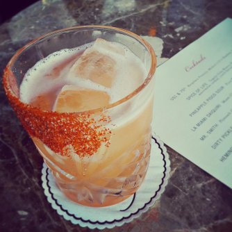 SPICE OF LIFE Tequila Ocho Blanco, Sombra Mezcal, watermelon cordial, scotch bonnet agave