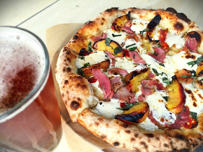Peach & Pancetta, what could be betta? Some Calabrian chiles and mozzarella make a perfect match for Hop 4 Teacher.