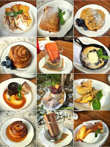 May/June 2016: peach & cherry popsicle, toasted coconut french toast, chocolate butterscotch pudding with salted caramel and candied kumquats...