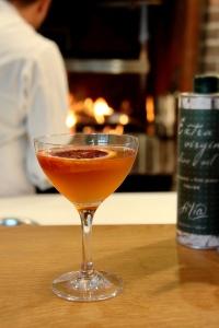 Sangreal grey goose, punzone blood orange liqueur, lemon 14 cocktail glass