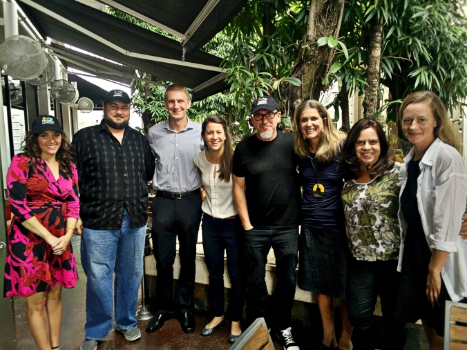 Some of the gang today at lunch (from left to right) Stephanie Cardelle (Four Seasons Miami), Chef Clark Bowen (Chef, db Bistro Miami) Jason Bryson (WITS School Chef and Miami Manager), Allyce Perret-Gentil (WITS School Chef and Miami Coordinator), Chef!, Nancy Easton (WITS Executive Director & Co-Founder), Laura Culbreth (WITS School Chef), and -Leonor Azpurua (WITS School Chef)
