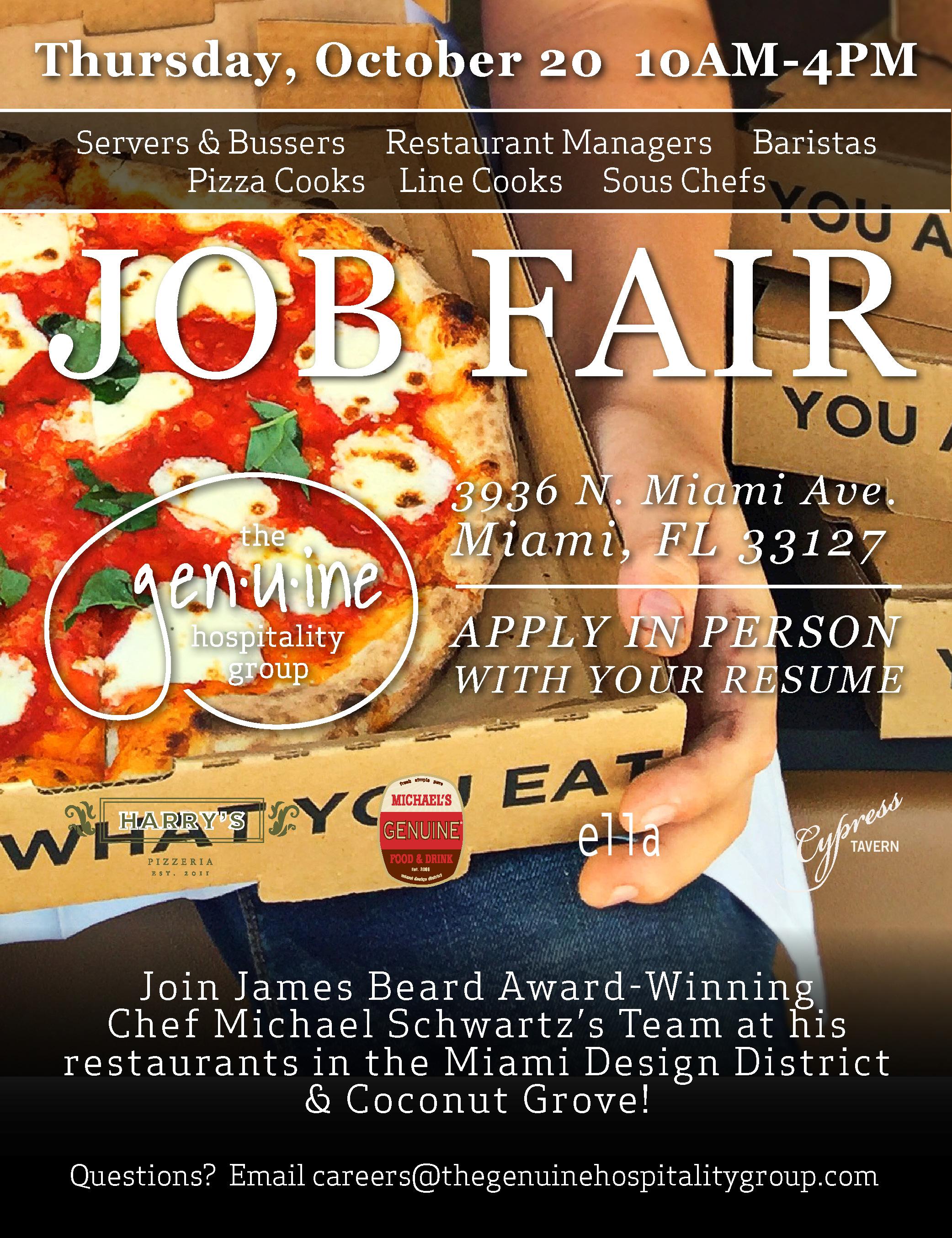 The Genuine Hospitality Group Job Fair Fall Edition