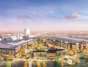 A rendering shows the Van Aken District project in Shaker Heights, where new buildings could open in spring 2018. (Bialosky Partners Architects; RMS Investment Corp.)