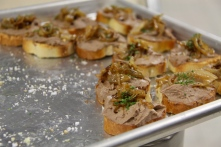 Chicken Liver Crostini with caramelized onions