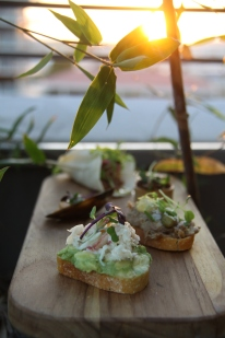 Among MSE's delicious passed bites: short rib taco with queso fresco, red onion, cilantro; warm camembert tartlet with roasted mushrooms, thyme; avocado toast with peeky toe crab; green curried mussels with lemongrass, herbs