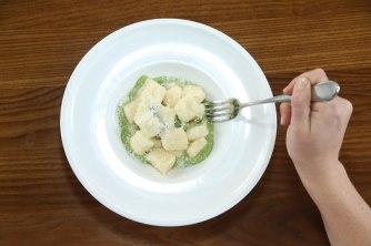 Gnudi with pea purée, parmigiano