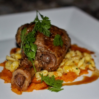 Niman Ranch Beef Shank and Spaetzle, 2011 Slow Food Ark of Taste dinner highlighting Seminole pumpkin