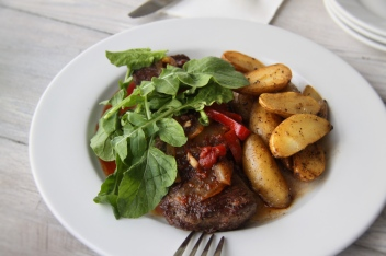 Pan Roasted Skirt Steak fingerling potatoes, rosemary, peperonata