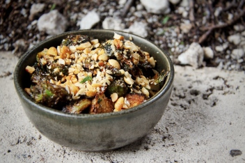 Crispy Brussels Sprouts with apple butter, smoked peanuts