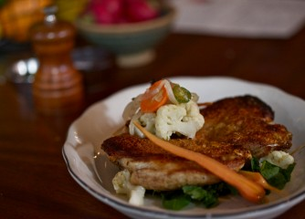 Pan seared 1/2 Poulet Rouge a succulent, crispy canvas to an ever-changing setup, here pictured with vegetable giardiniera (Michael's Genuine)