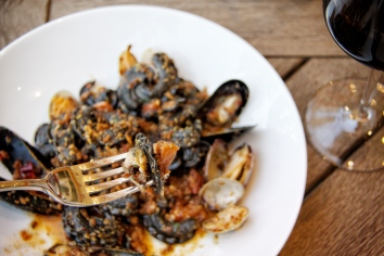 Squid Ink Campanelle with mussels and clams.