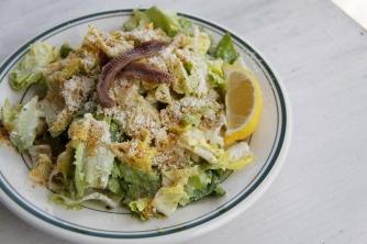 A long time favorite -- Escarole salad with its lemony tang and garlicky toasted breadcrumbs. The perfect accompaniment to the Margherita pizza (I even like it on top!)