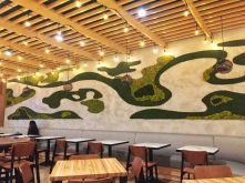 Our moss wall -- an installation in progress but really coming together in a fluid, organic way!