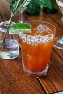 """E.L. Michelada, named for """"EL"""" Eric Larkee, known to make a great one of these famed Mexican refreshments subbing the vodka in a Bloody Mary for beer, in this case the local La Rubia from Wynwood Brewing Co."""